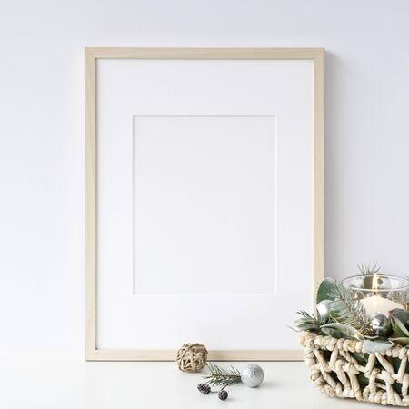 Frames Christmas Mockup. Scandinavian style. Foto de archivo - 133316150