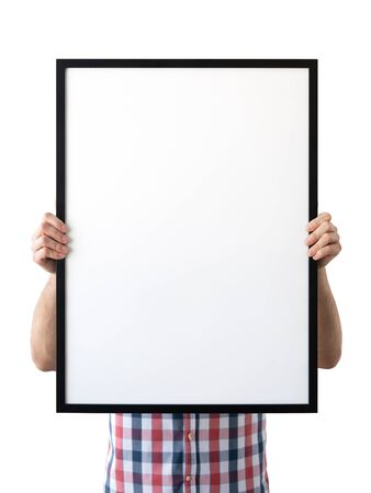 Holding frame mockup. Photo Mockup. The man hold frame. For frames and posters design. Foto de archivo - 133315837