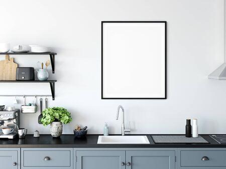 Frame & Poster mock up in living room. Scandinavian interior. 3d rendering, 3d illustration Foto de archivo - 133315404