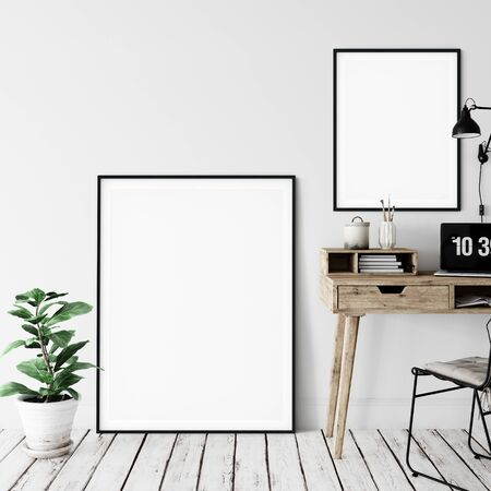 Frame & Poster mock up in living room. Scandinavian interior. 3d rendering, 3d illustration Foto de archivo - 133315409