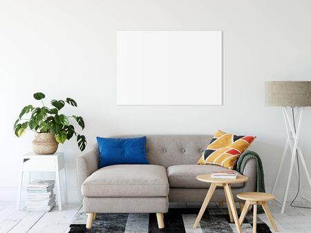 Frame & Poster mock up in living room. Scandinavian interior. 3d rendering, 3d illustration Foto de archivo - 133315421