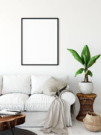 Frame & Poster mock up in living room. Scandinavian interior. 3d rendering, 3d illustration Foto de archivo - 133315434
