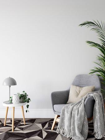 Wall mock up in living room. Scandinavian interior. 3d rendering, 3d illustration Foto de archivo - 133315437