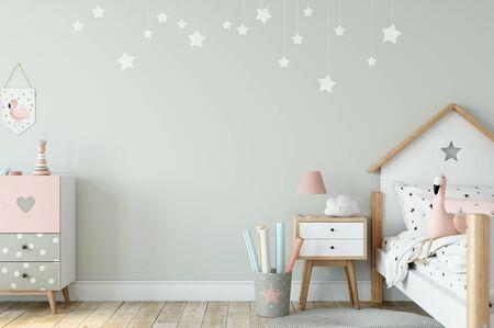 Kids Wall mock up. Kids interior. Scandinavian interior. 3d rendering, 3d illustration Foto de archivo - 133315439