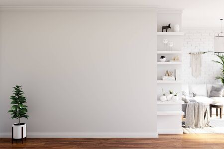 Wall mock up in living room. Scandinavian interior. 3d rendering, 3d illustration