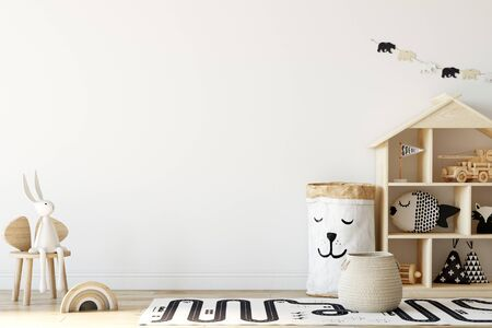 Kids Wall mock up. Kids interior. Scandinavian interior. 3d rendering, 3d illustration 免版税图像