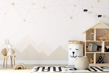 Kids Wall mock up. Kids interior. Scandinavian interior. 3d rendering, 3d illustration Foto de archivo - 133315659