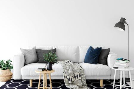 Wall mock up in living room. Scandinavian interior. 3d rendering, 3d illustration Foto de archivo - 133315663