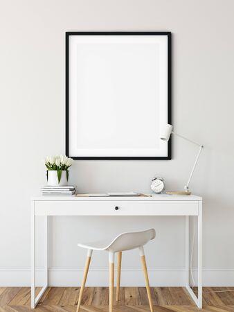 Frame & Poster mock up in living room. Scandinavian interior. 3d rendering, 3d illustration Foto de archivo - 133315662