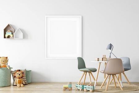 Frame & Poster mock up in living room. Scandinavian interior. 3d rendering, 3d illustration