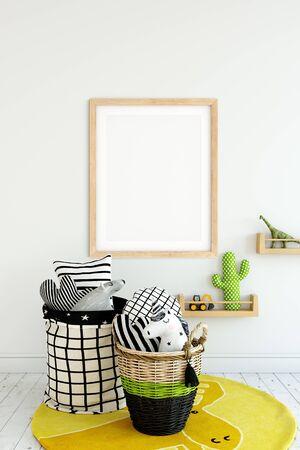 Frame & Poster mock up in living room. Scandinavian interior. 3d rendering, 3d illustration Foto de archivo - 133315667
