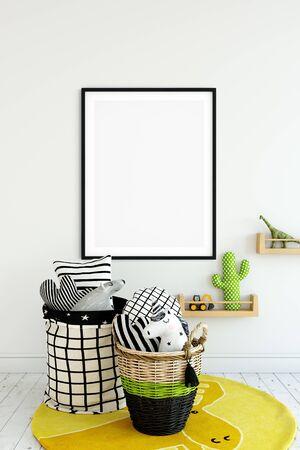 Frame & Poster mock up in living room. Scandinavian interior. 3d rendering, 3d illustration Foto de archivo - 133315669