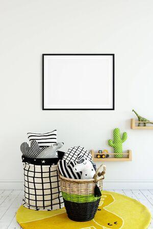 Frame & Poster mock up in living room. Scandinavian interior. 3d rendering, 3d illustration Foto de archivo - 133315671