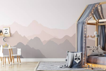 Kinderwand-Mock-up. Kinderinnenraum. Skandinavisches Interieur. 3D-Rendering, 3D-Darstellung