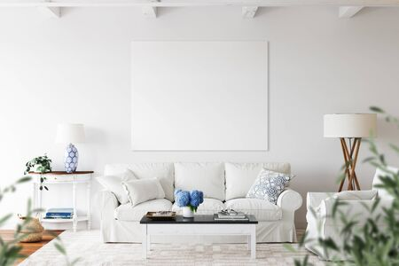 Canvas mockup. Coastal Scandinavian interior style. 3d rendering, 3d illustration