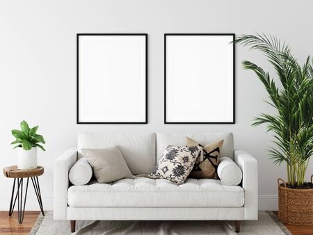 Frame mockup. Coastal Scandinavian interior style. 3d rendering, 3d illustration Zdjęcie Seryjne - 135783518