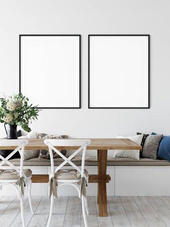 Frame mockup. Coastal Scandinavian interior style. 3d rendering, 3d illustration