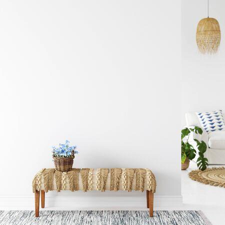 Wall mockup. Coastal Scandinavian interior style. 3d rendering, 3d illustration Zdjęcie Seryjne