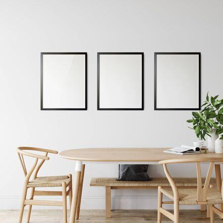 Frames mockup in scandinavian interior. Interior mockup. 3d rendering, 3d illustration