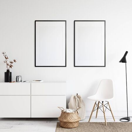 Frames mockup in scandinavian interior. Interior mockup. 3d rendering, 3d illustration