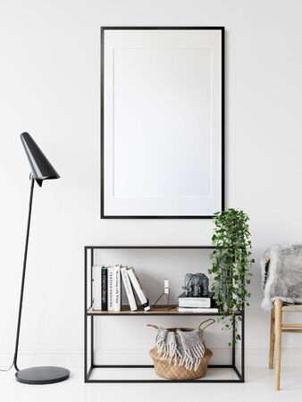 Frame mockup in scandinavian interior. Interior mockup. 3d rendering, 3d illustration Stock fotó