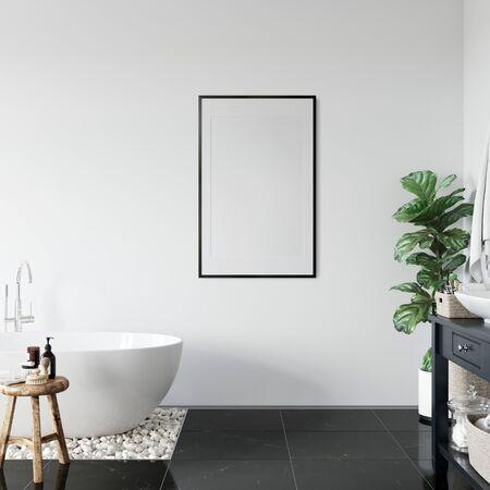Frame mockup in scandinavian interior. Interior mockup. 3d rendering, 3d illustration Zdjęcie Seryjne