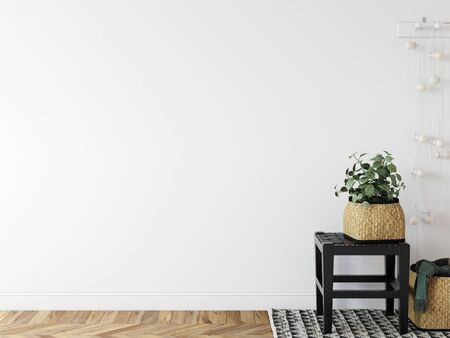 Wall mockup in scandinavian interior. Interior wall mockup. Wall art. 3d rendering, 3d illustration Standard-Bild