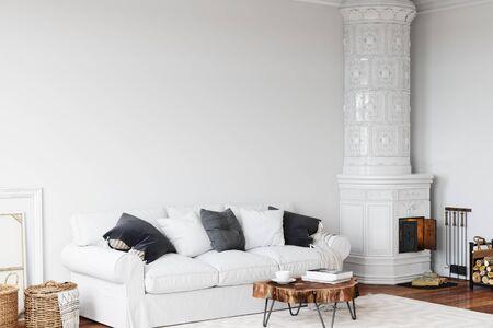Wall mockup in scandinavian interior. Interior wall mockup. Wall art. 3d rendering, 3d illustration Zdjęcie Seryjne