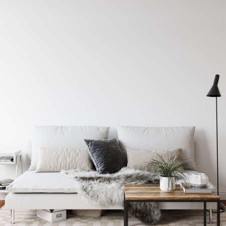 Wall mockup in scandinavian interior. Interior wall art. 3d rendering Standard-Bild