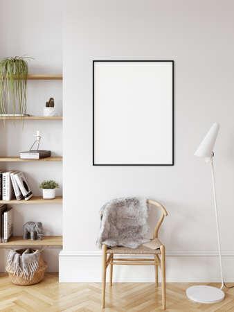 Boho interior style. Wall mockup. Wall art. 3d rendering