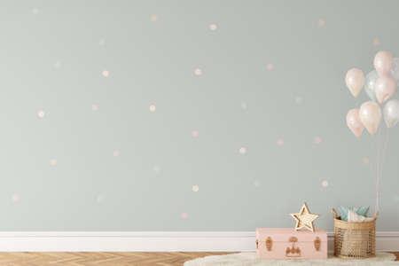 Wall mockup in child room interior. Nursery Interior in scandinavian style. 3d rendering, 3d illustration Standard-Bild