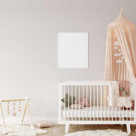 Frame mockup in child room interior. Nursery Interior in scandinavian style. 3d rendering, 3d illustration Standard-Bild
