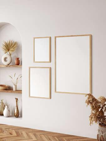 Frame & poster mockup in Boho style interior. 3d rendering, 3d illustration
