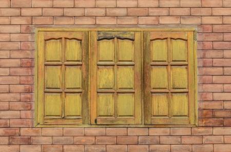 vertica: wooden window Stock Photo