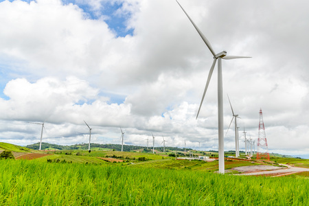 energy use: Renewable energy from wind. For use in the production of electricity. Stock Photo