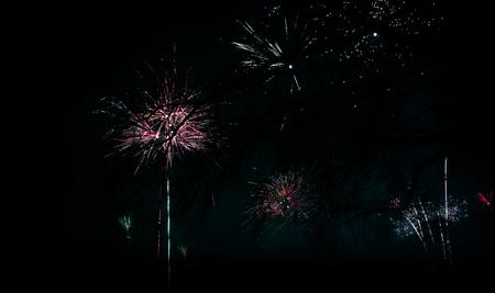 Firework at new years night Stock Photo
