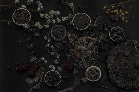 eten in het zwart Stockfoto