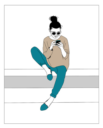 illustrators: Girl playing mobile phone Illustration