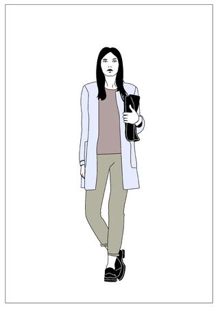 Meisje met een zak Stock Illustratie