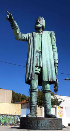 Statue dedicated to the Portuguese discoverers of the New World on the beach of Setúbal, Portugal. You can see a navigator pointing to the coast where the American continent is located in front of it