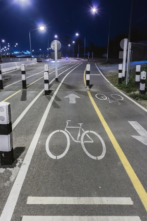 intend: Bicycle lane with night background