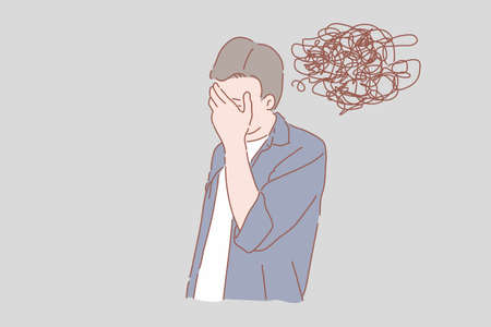 Man facepalm concept for stress, anxiety, uneasiness, confusion vector.