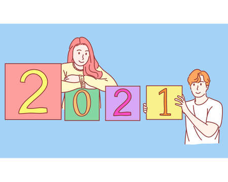 Man and woman with 2021 New year concept. Hand drawn flat character vector style. Vektorové ilustrace