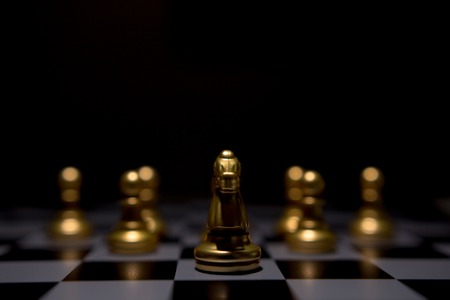 Business leader concept. Chess board game competition. Stock Photo