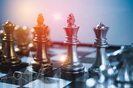 Chess board game concept of business ideas and competition and stratagy plan success meaning, Stock financial statistic graph analysis data concept.