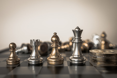Chess board game concept of business ideas and competition and strategy plan success meaning.
