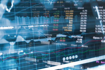 Business financial concept with double exposure of candle stick graph chart of stock market investment trading. Financial chart with up trend line graph.