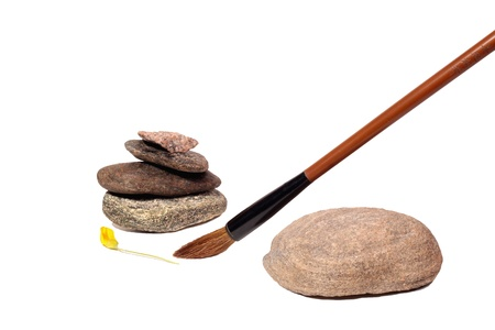 embody: Brush among stones on a white background