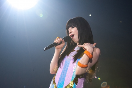 November 8, 2012, Tokyo, Japan - Carly Rae Jepsen performs on the catwalk during Girls Award 2012 Autumn/Winter at the Yoyogi National Gymnasium in Shibuya, Japan. She sang ''Call Me Maybe?''.   Stock Photo - 21657072