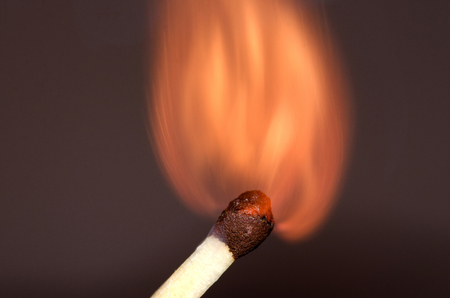voile: burning match  match in the initial moment of ignition Stock Photo